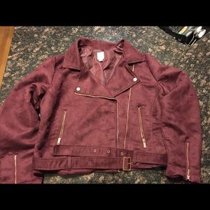 Faux suede jacket with rose gold accents
